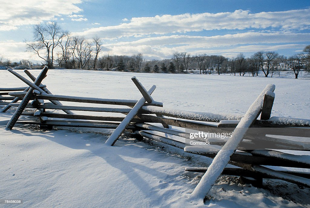 Snow on fence , Bucks County , Pennsylvania