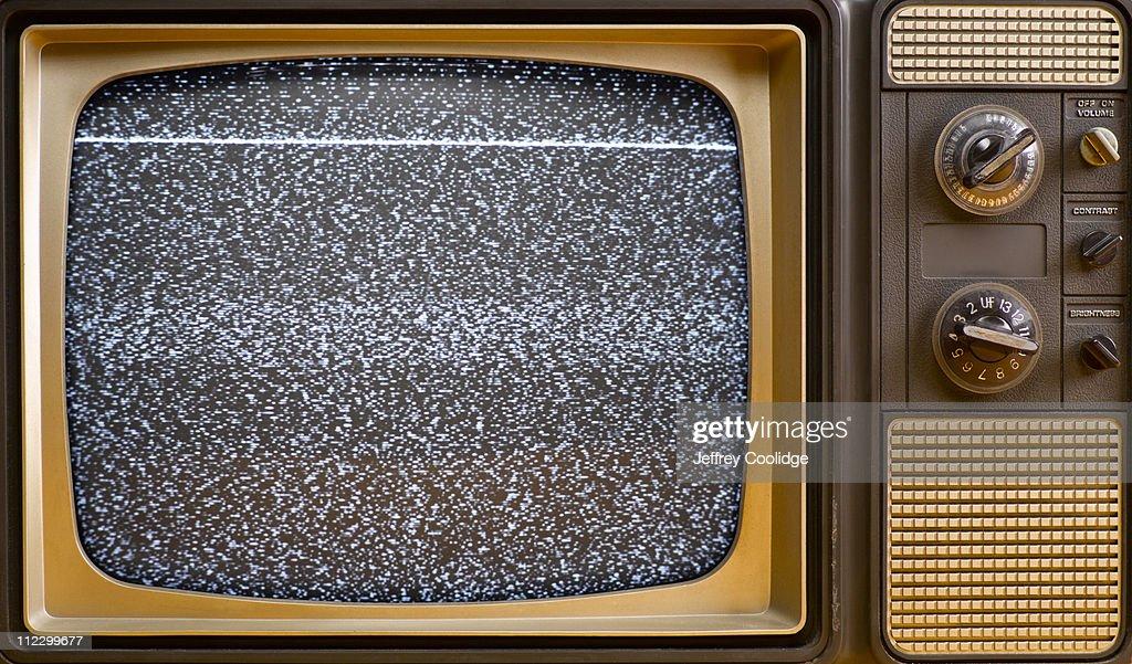 'Snow' on Vintage TV Screen : Stock Photo