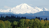 Mid Spring and Mount Baker, Washington has a large snow pack.