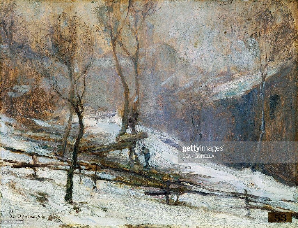 Snow painting by Lidio Ajmone oil on canvas 45x25 cm Italy 20th century Turin Galleria Civica D'Arte Moderna E Contemporanea