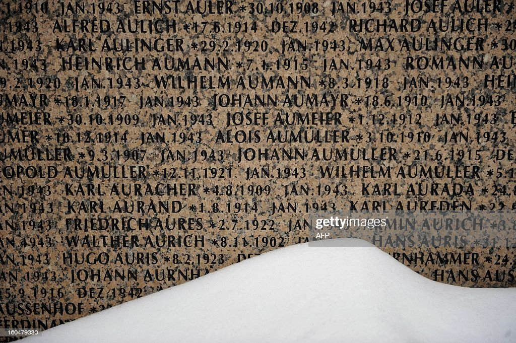 Snow partly covers one of the monuments with names of Wehrmacht soldiers who died in the Battle of Stalingrad during the World War II, at a German military cemetery in the Russian village of Rossoshka, some 40 km outside the city of Volgograd, formerly Stalingrad, on February 1, 2013. In a new display of national pride and reminder of its status as a world power, Russia remembers this weekend the Red Army victory in the battle of Stalingrad over invading Nazi forces, one of the bloodiest battles in human history.