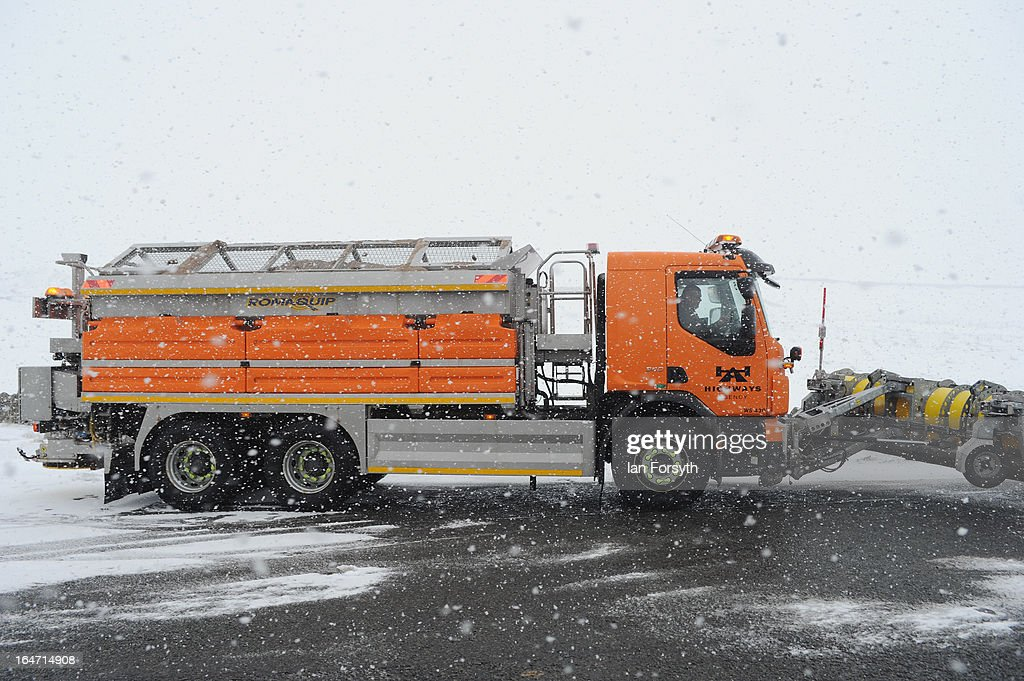 A snow plough on the A66 near to Bowes in County Durham prepares to set off as heavy snow falls on March 27, 2013 in Bowes, England. Across the UK heavy snow and freezing temperatures continue to cause disruption as Britain endures the coldest March in 50 years.