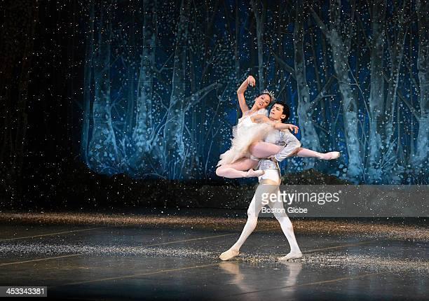 Snow Queen and King Lia Cirio and Lasha Khozashvili perform during dress rehearsal of Boston Ballet's 'The Nutcracker' at the Boston Opera House on...