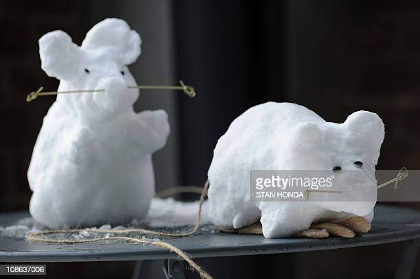 'Snow Rats' made by sisters Mica and Noa Yoder won second prize in the High Line Snow SculptOff January 27 2011 at the High Line park in New York The...