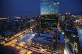 Snow remains in Copley Square with clear skies following a powerful blizzard on February 9 2013 in Boston Massachusetts The storm knocked out power...