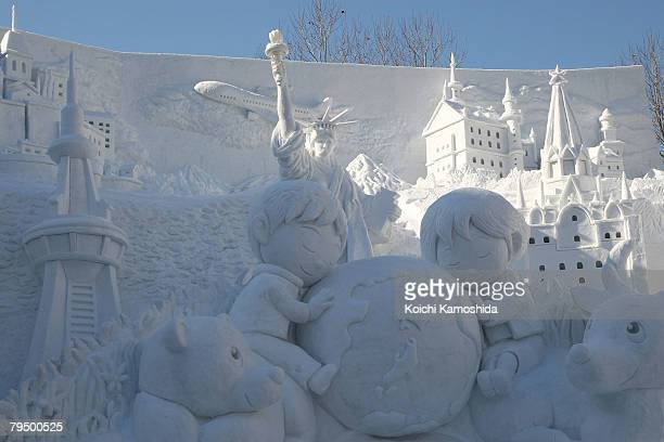 A snow sculpture of the Earth and the Future of Our Children is displayed at Odori Park on February 4 2008 in Sapporo Japan The 59th Sapporo Snow...