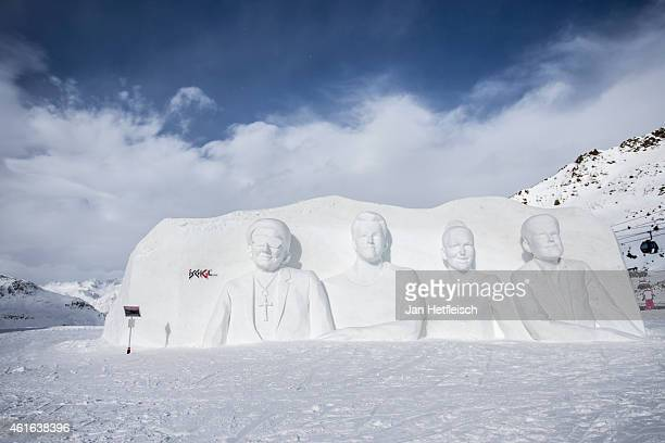 A snow sculpure shows the four judges of the german TVShow DSDS on January 16 2015 in Ischgl Austria