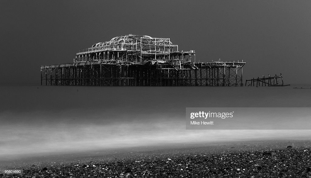 Snow settles on the derelict West Pier in the early hours of January 7, 2010 in Hove, United Kingdom. The MET office confirmed that the Christmas period has been the coldest for 25 years with temperatures as low as -17C being recorded. Commuters and air passengers faced long delays today as the continued frigid temperatures gripped the country.