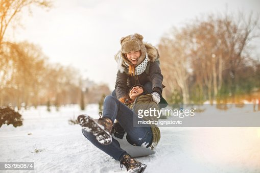 Snow sliding with girlfrend
