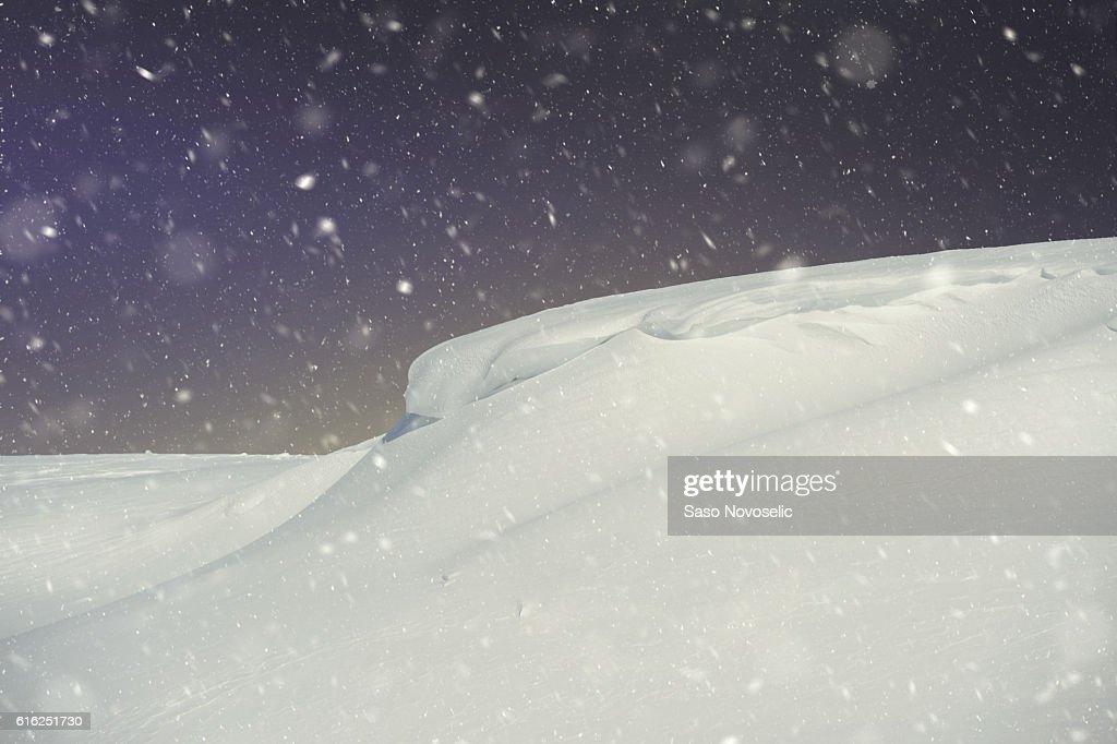 Snow Slopes At Night : Stock Photo