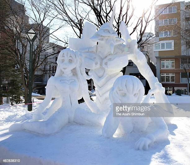 Snow statue of 'Neon Genesis Evangelion' is seen during the 66th Sapporo Snow Festival at Odori Park on February 6 2015 in Sapporo Japan The annual...