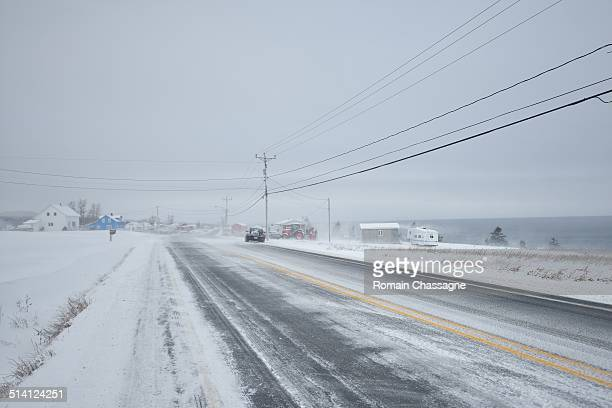 Snow storm on the road in Canada