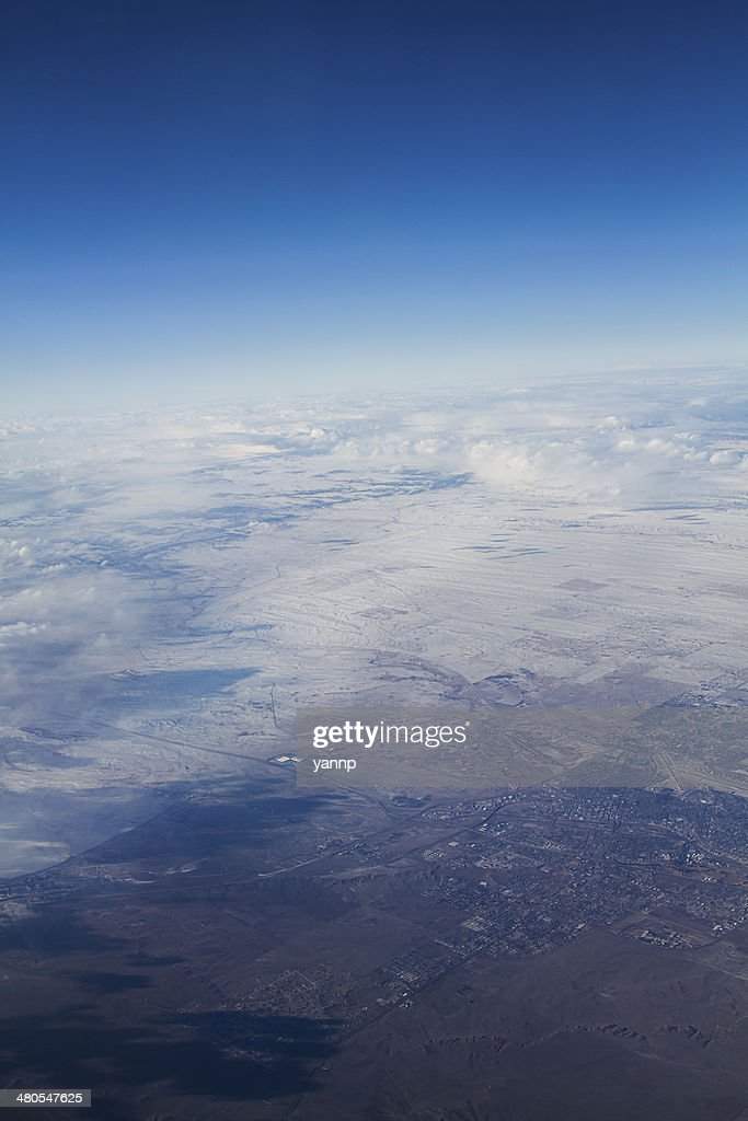 Snow to desert : Stock Photo