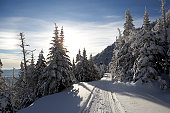 Snow trail in Stowe, Vermont