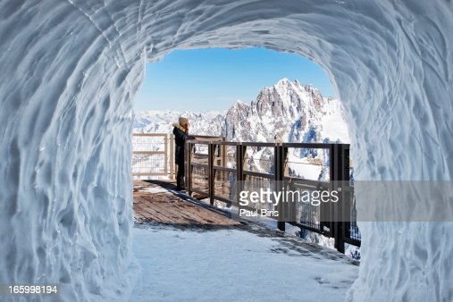 Snow Tunnel At Aiguille Du Midi  French Alps