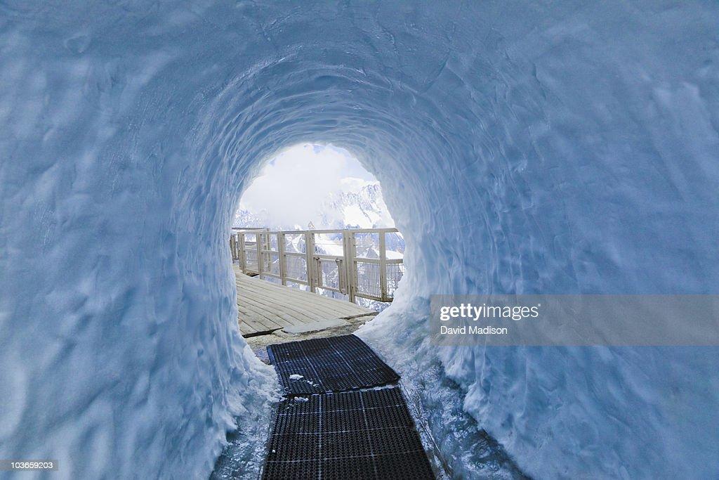 Snow tunnel at Aiguille du Midi.