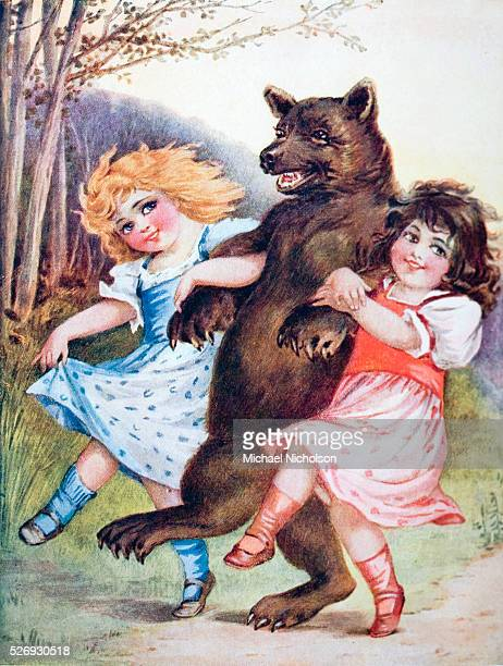 Snow White and Rose Red with the bear Scene from the Grimm brothers fairy tale 'Snow White and Rose Red' | Part of 'Grimm's Fairy Tales' by the...