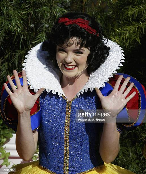 Snow White gestures during a handprint ceremony at Grauman's Chinese Theatre on February 5 2004 in Hollywood California