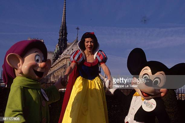 Snow White Mickey and Dwarf Shy at Notre Dame in Paris France 1990