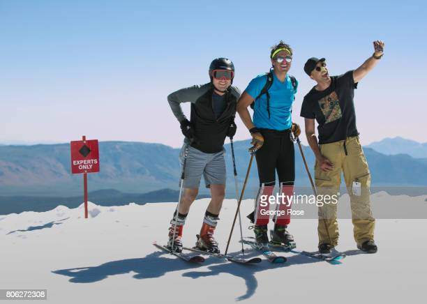 Snowboard and ski enthusiasts take advantage of the unusual summer snow conditions at this popular mountain ski area on June 29 in Mammoth Lakes...