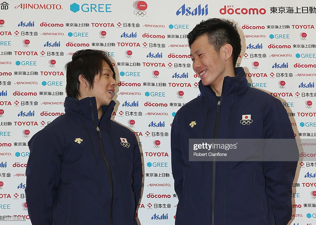 Snowboard Men's Halfpipe silver medalist <a gi-track='captionPersonalityLinkClicked' href=/galleries/search?phrase=Ayumu+Hirano&family=editorial&specificpeople=10166700 ng-click='$event.stopPropagation()'>Ayumu Hirano</a> and bronze medalist <a gi-track='captionPersonalityLinkClicked' href=/galleries/search?phrase=Taku+Hiraoka&family=editorial&specificpeople=7152528 ng-click='$event.stopPropagation()'>Taku Hiraoka</a> pose for photographs during the Japanese medalists press conference on day five of the Sochi 2014 Winter Olympics at Japan House on February 12, 2014 in Sochi, Russia.