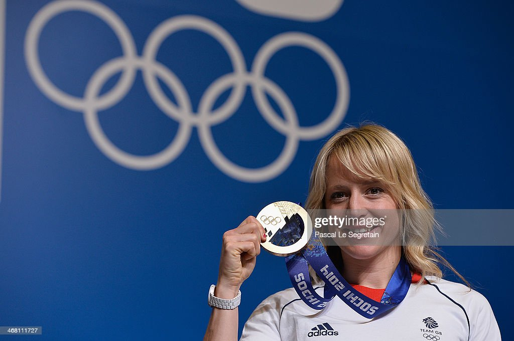 Snowboard slopestyle bronze medallist Jenny Jones of Great Britan poses during a press conference on February 9, 2014 in Sochi, Russia.