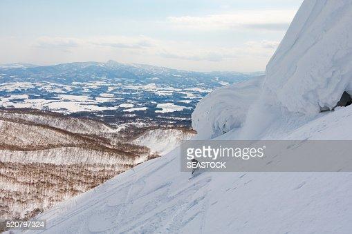 Snowboarder at a Ski Resort in Niseko, Hokkaido, Japan : Stock Photo