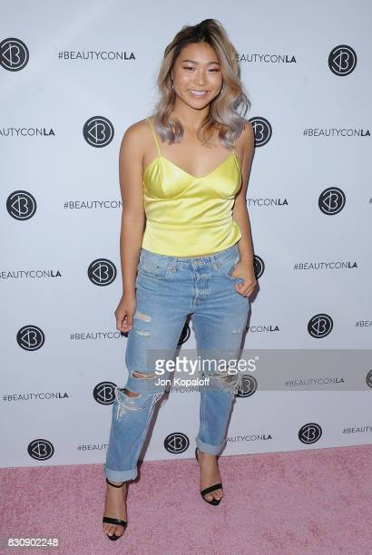 Snowboarder Chloe Kim arrives at the 5th Annual Beautycon Festival Los Angeles at Los Angeles Convention Center on August 12 2017 in Los Angeles...
