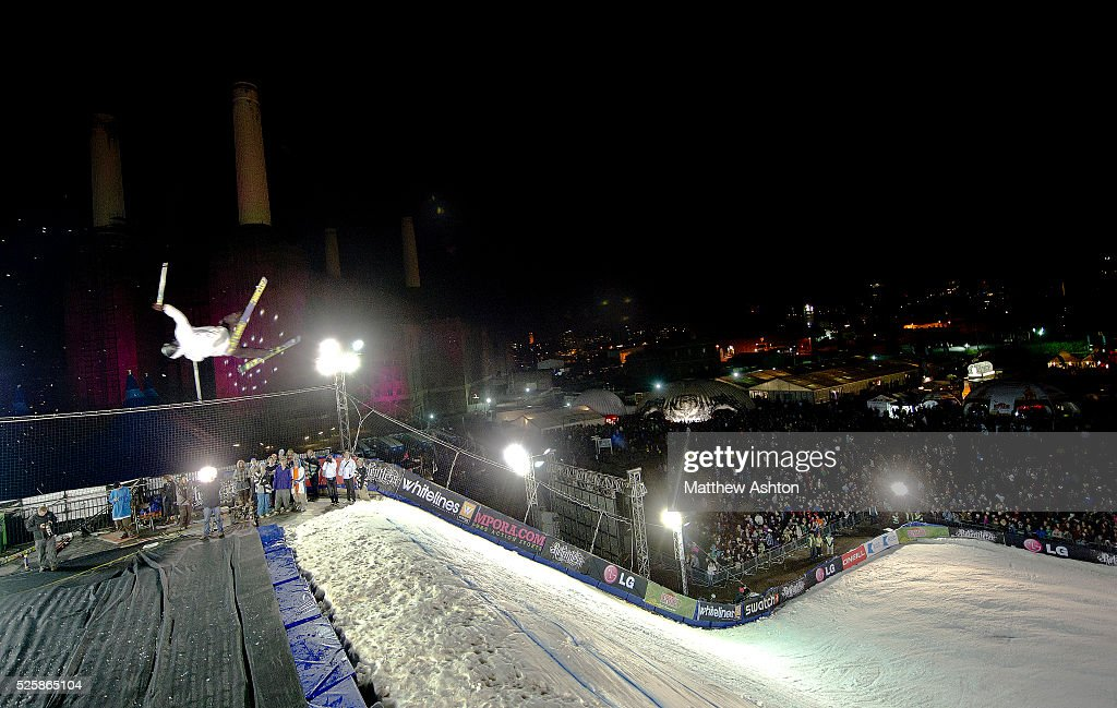 A snowboarder competing in the LG Snowboard International Ski Federation in London