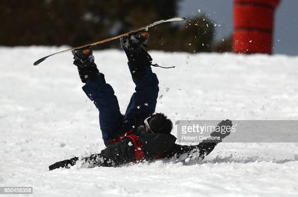 A snowboarder crashes on September 21 2017 in Mount Buller Australia Australians are enjoying one of the best ski seasons after the best snowfall in...
