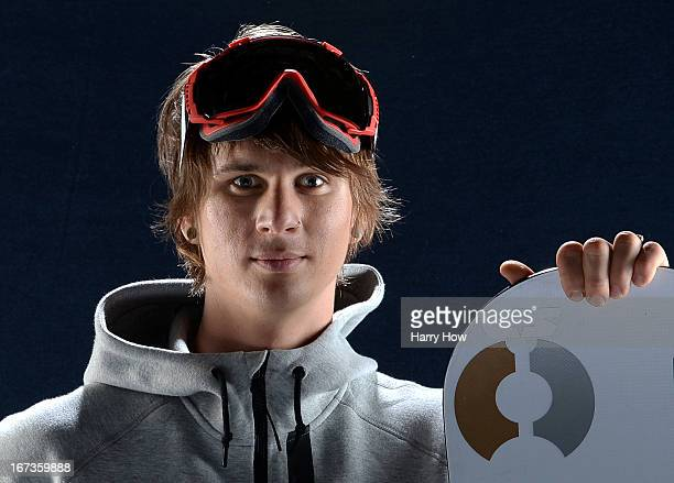 Snowboarder Evan Strong poses for a portrait during the USOC Portrait Shoot at Smashbox West Hollywood on April 23 2013 in West Hollywood California
