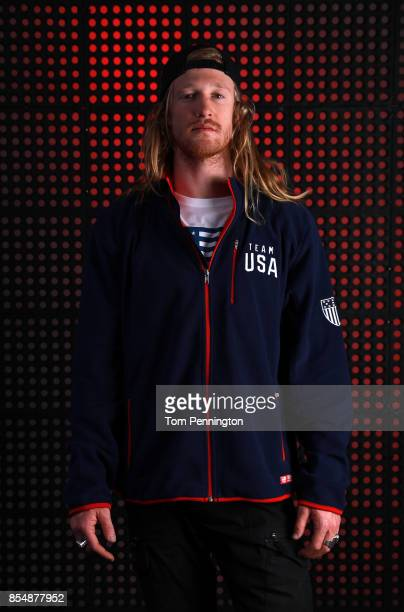 Snowboarder Hagen Kearney poses for a portrait during the Team USA Media Summit ahead of the PyeongChang 2018 Olympic Winter Games on September 27...