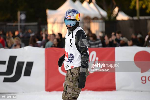 Snowboarder Mark McMorris participates in the Air Style competiton at Exposition Park on February 20 2016 in Los Angeles California
