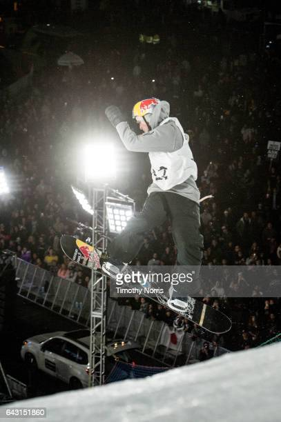 Snowboarder Seppe Smits competes during Air Style Los Angeles 2017 at Exposition Park on February 19 2017 in Los Angeles California