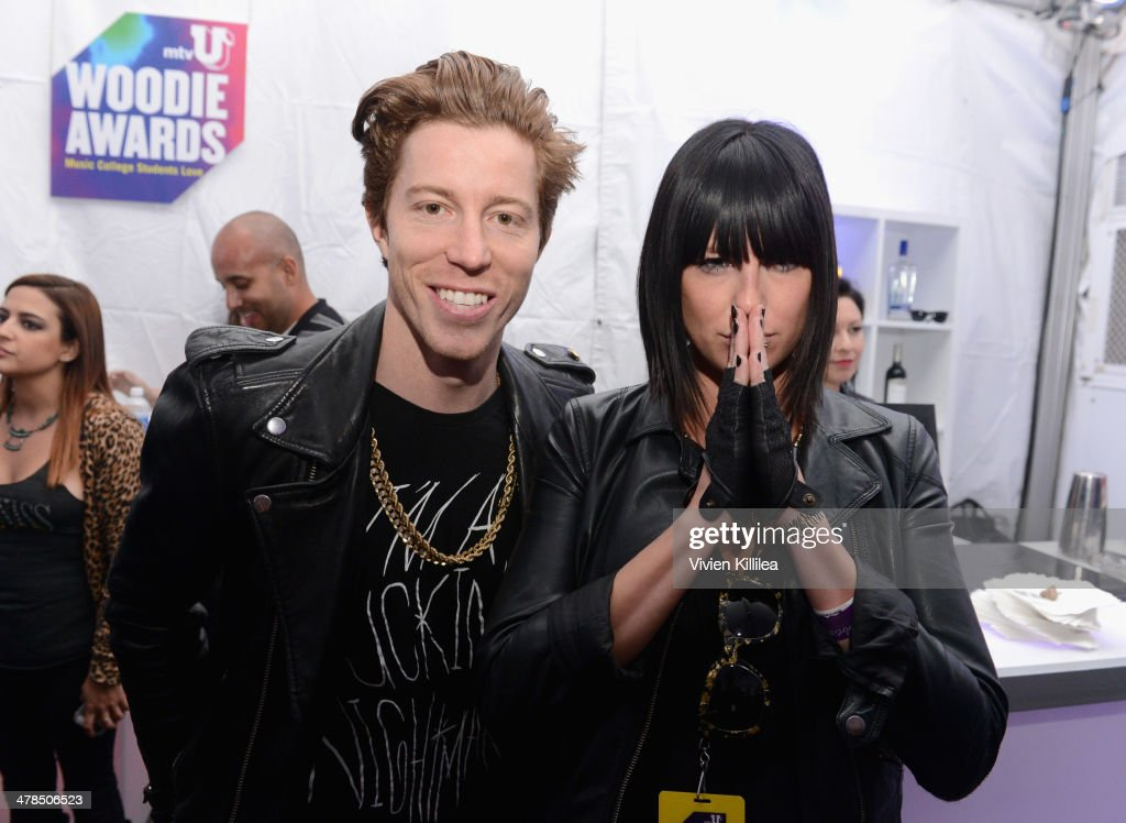 Snowboarder Shaun White (L) and musician <a gi-track='captionPersonalityLinkClicked' href=/galleries/search?phrase=Sarah+Barthel&family=editorial&specificpeople=6901926 ng-click='$event.stopPropagation()'>Sarah Barthel</a>, of Phantogram, attend the 2014 mtvU Woodie Awards and Festival on March 13, 2014 in Austin, Texas.