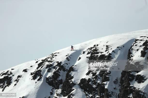 A snowboarder takes part in the Buller X on September 21 2017 in Mount Buller Australia