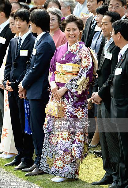 Snowboarder Tomoka Takeuchi is seen during the spring garden party at Akasaka Palace on April 17 2014 in Tokyo Japan