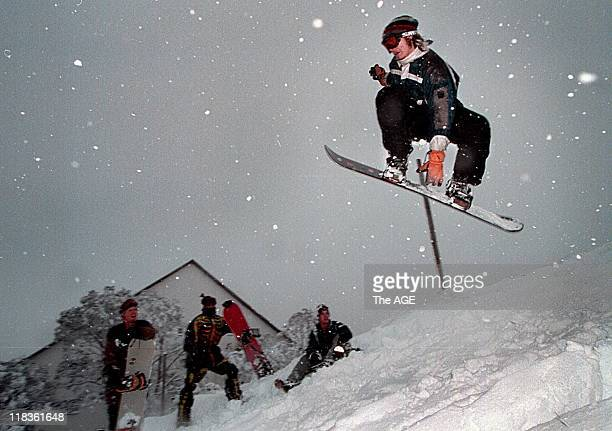 Snowboarders at Falls Creek enjoy the season opening weekend's best snow falls in 20 years 14 June 1999