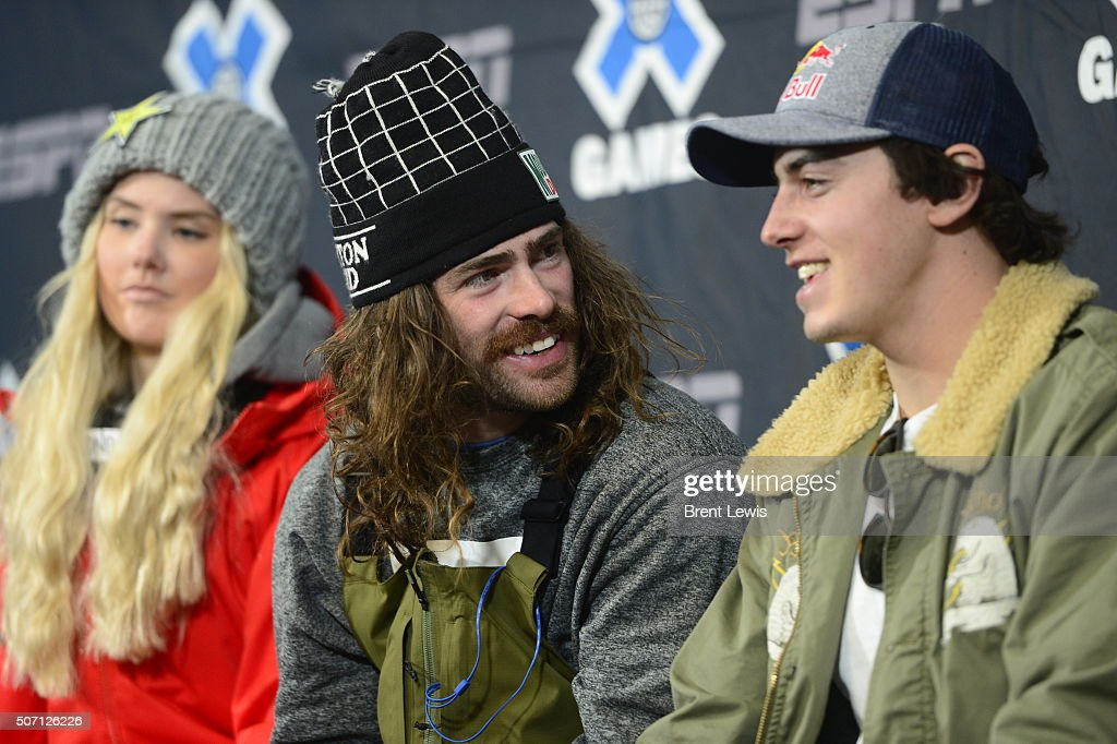 Snowboarders Danny Davis and Mark McMorris joke around during a press conference for the kick off of X Games Aspen at Buttermilk Mountain on January...