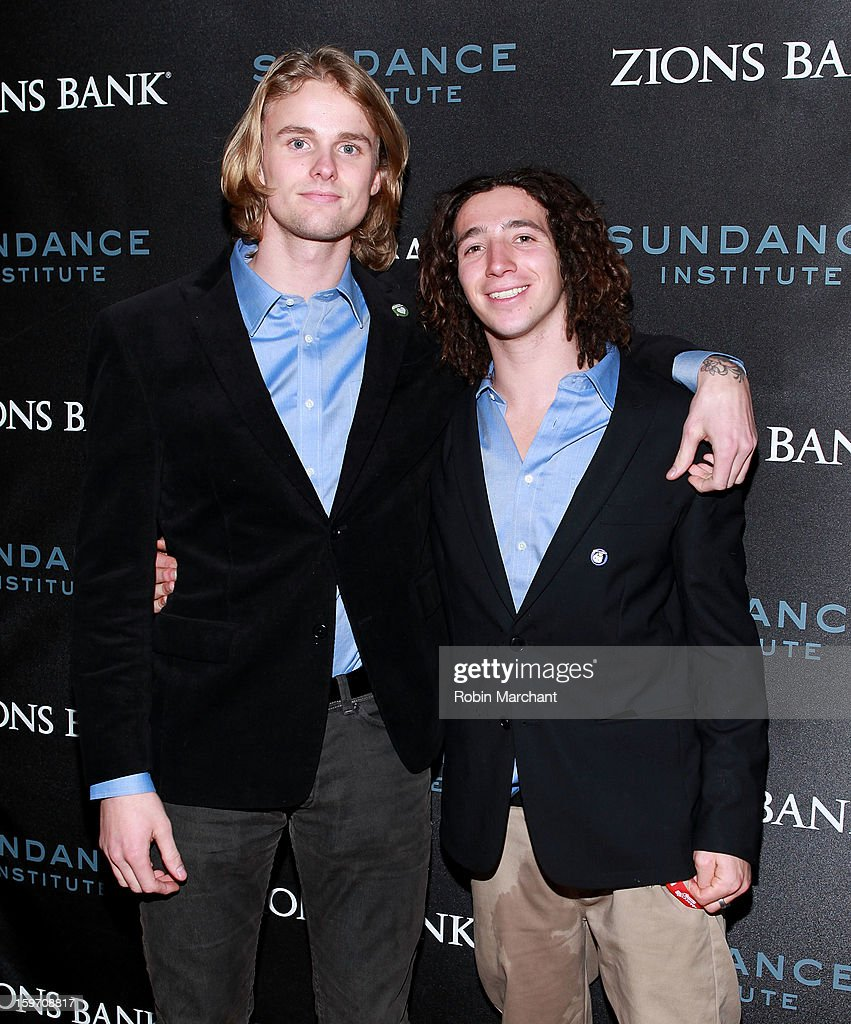 Snowboarders Mikkel Bang (L) and Luke Mitrani attend SLC Gala Reception presented by Zions at Pierpont Place on January 18, 2013 in Salt Lake City, Utah.