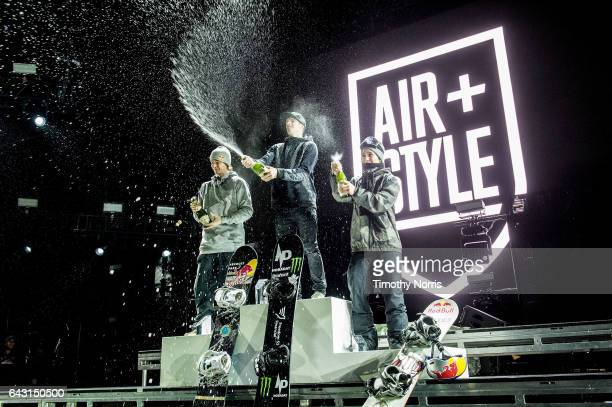 Snowboarders Seppe Smits Max Parrot and Marcus Kleveland celebrate during Air Style Los Angeles 2017 at Exposition Park on February 19 2017 in Los...