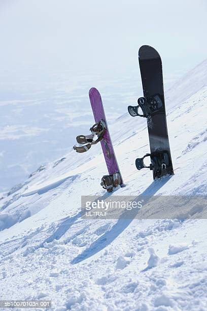 Snowboards on slope