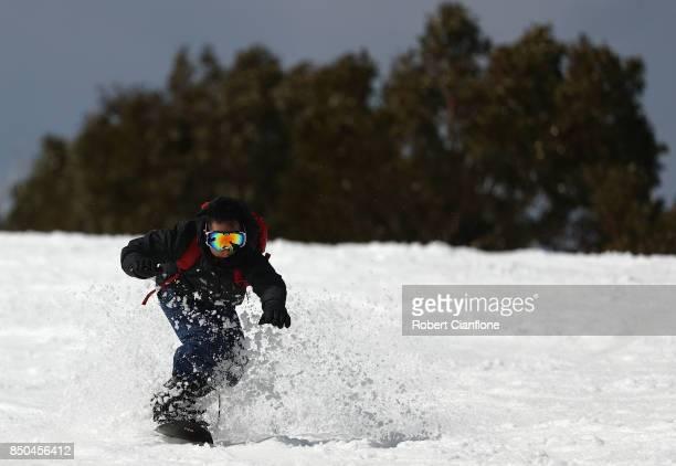 A snowborader is seen on September 21 2017 in Mount Buller Australia Australians are enjoying one of the best ski seasons after the best snowfall in...