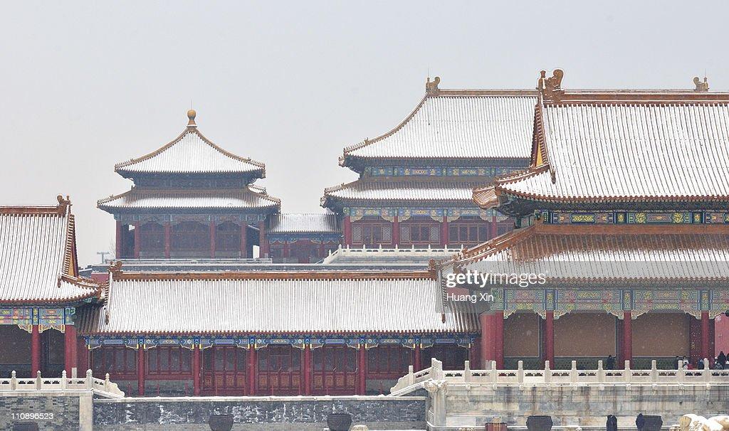 Snowcapped Forbidden City, Beijing, China
