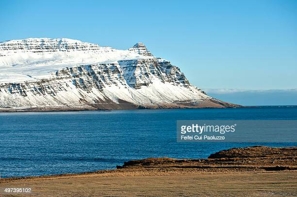 Snowcapped mountain and Fjord at Breiddalsvik, Iceland