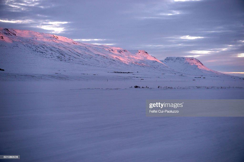 Snowcapped mountain at Saudarkrokur North of Iceland
