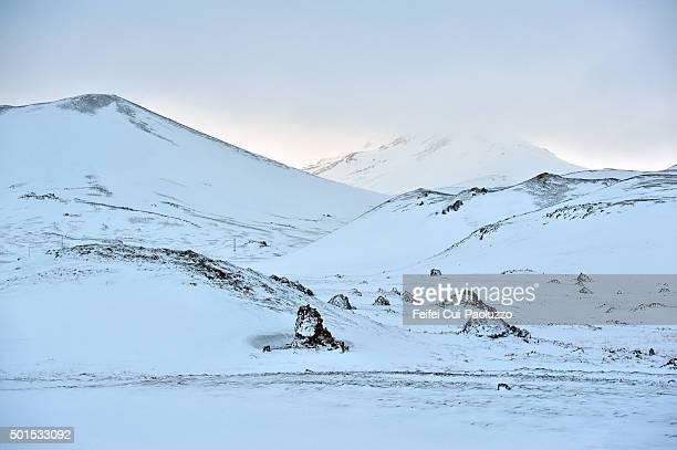 Snowcapped mountain landscape at Berserkjahraun Snæfellsnes Penisula West Iceland