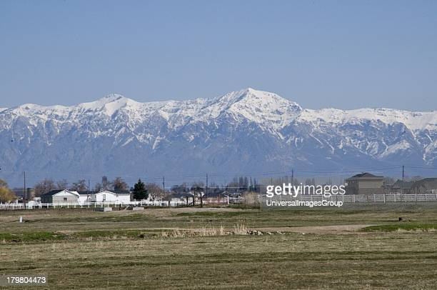 Snowcapped Wasatch mountains near Salt Lake City Utah