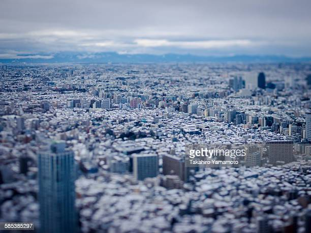 Snow-covered buildings in Tokyo