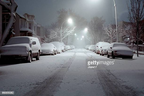 Snow-Covered Cars Lit by Street Lights - Blizzard of 2006